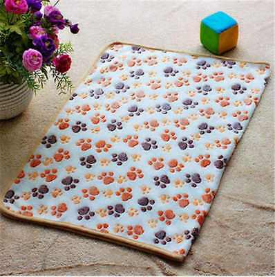 Pet Small Large Warm Paw Print Dog Puppy Cat Pig Fleece Soft Blanket Beds Mat h2
