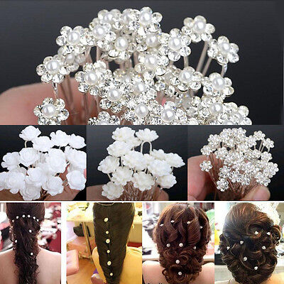 20/40pcs Wedding Party Bridal Rose Pearl Flower Crystal Hairpin Hair Pins Clips