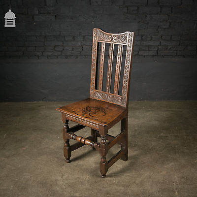 18th C Oak Chair with Ornate Hand Carved Detail and Single Plank Seat