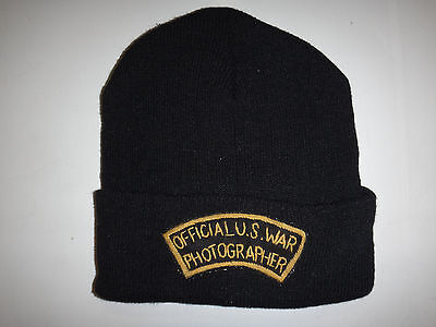 US Army OFFICIAL U.S. WAR PHOTOGRAPHER Black Knit Hat *One Size Fits All*