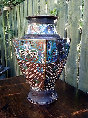 Large Antique Japanese Champleve Urn