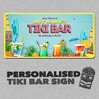 Personalised Tiki Bar Metal Wall Sign Plaque UK MADE Beer Cocktail Beach Novelty
