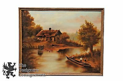 """Antique Country Landscape Impressionist Painting Boat Ferry Figures River 30"""""""