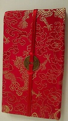 Red silk brocade lined diary/journal
