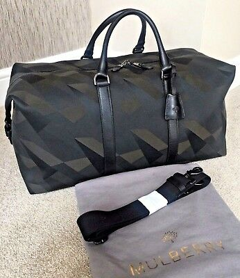 252fb1a0164d Mulberry Army Green   Black Dazzle Camo Canvas Holdall Weekend Travel Bag  Bnwt