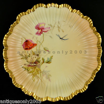 ROYAL WORCESTER Flower Butterfly Dragonfly Blush Ivory Painted Plate EDWARD RABY