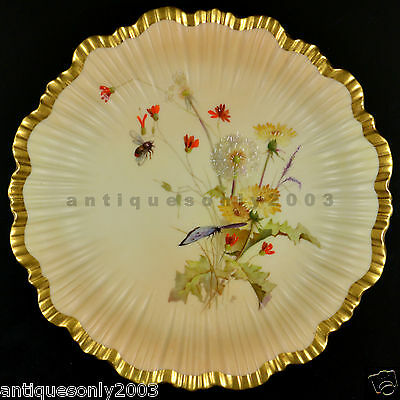 ROYAL WORCESTER Flowers Butterfly Bee Blush Ivory Painted Plate EDWARD RABY #2