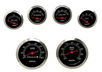 6 gauge BLACK mechanical speedometer set STREET ROD HOT ROD, UNIVERSAL