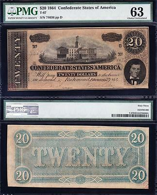 Amazing CHOICE UNCIRCULATED 1864 T-67 $20 CSA Confederate Note PMG 63! 74636