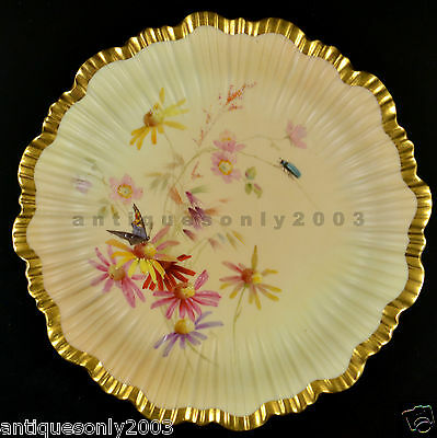 ROYAL WORCESTER Flower Butterfly Beetle Blush Ivory Painted Plate EDWARD RABY #3