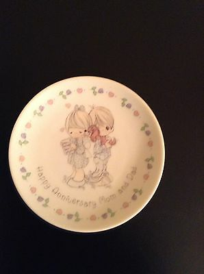Precious Moments 4 Inch Mini Plate Happy Anniversary Mom And Dad