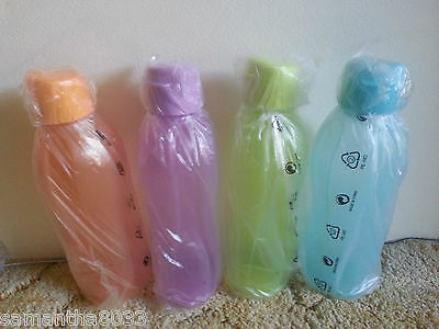Tupperware - Eco H2O On the Go 500ml x 4 Bottle Only (Water / Drink) - New Neon