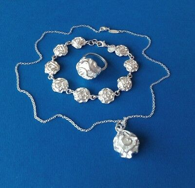 Jewellery Set Silver 925 of Bracelet, Pendant and Ring.
