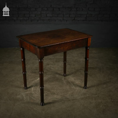 18th C Single Plank Mahogany Topped Side Table with Turned Legs