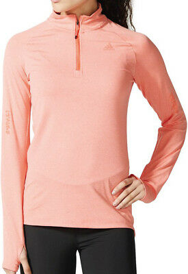 adidas Supernova Half Zip Long Sleeve Ladies Running Top - Orange