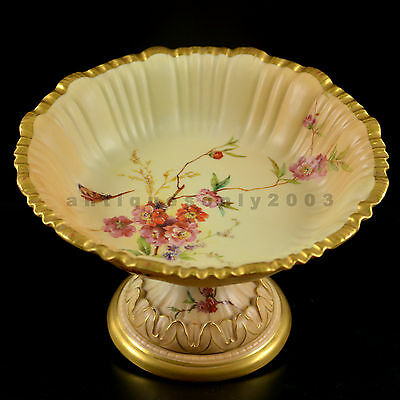 Rare ROYAL WORCESTER Flower Butterfly Bee Blush Ivory Painted Comport Tazza RABY