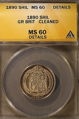1890 Great Britain Shilling ANACS MS60 Details Cleaned ** FREE U.S SHIPPING **