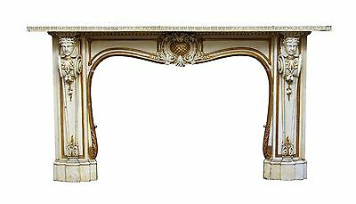 Beautiful Carved Wooden Figural Mantel