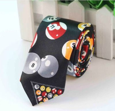 Unisex Novelty Fancy Dress Billiards Pool Colour Snooker Ball Skinny Tie New