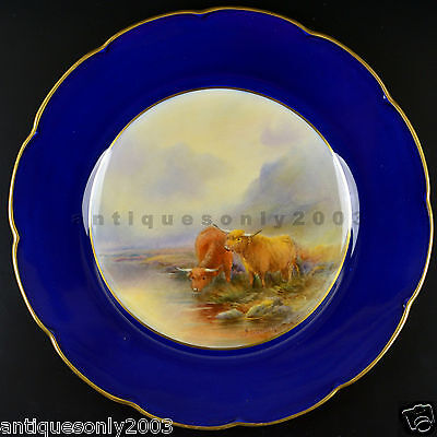 Stunning ROYAL WORCESTER Highland Cattle Hand Painted Plate JOHN STINTON SIGNED