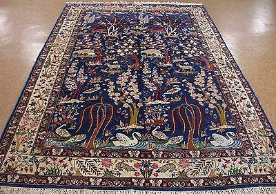 6 x 10 PERSIAN KERMAN Hand Knotted Wool PICTORIAL TREE OF LIFE BLUE Oriental Rug