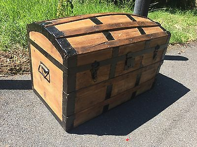 Antique chest travel trunk steamer trunk domed top blanket box rustic