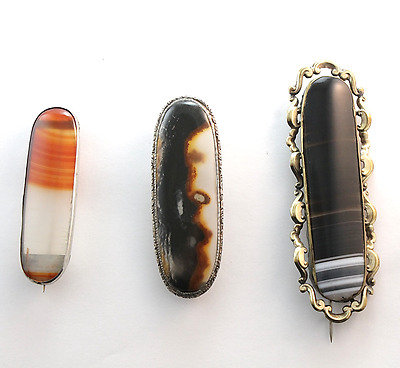 Antique Victorian Scottish Banded Agate Brooch Lot of  3 Brooches