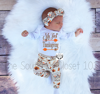 13415accc Baby Thanksgiving Outfit, My First Thanksgiving,Newborn Coming Home Outfit,