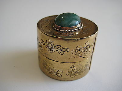 Vintage Chinese Brass Copper Engraved Floral w/Jade Incense Box