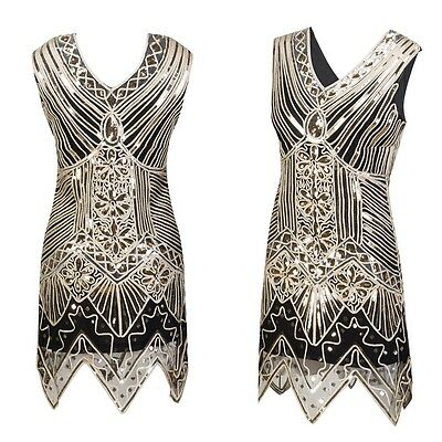1920s GATSBY VINTAGE SEQUIN MINI DRESS Flapper Charleston Party Evening Prom