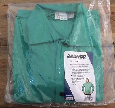 "Radnor 30"" FR Flame Retardant Welding Jacket Med Green Snap Front 64054961 NEW"
