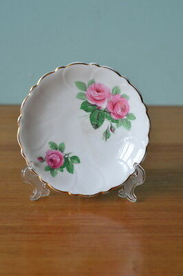 Vintage fine china saucer / plate   Adderley Floral  pink flowers 3195 No 350