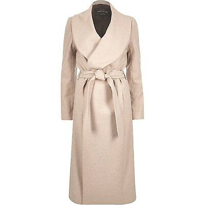 BNWT River Island Natural Beige Wool Blend Robe Belted Wrap Winter Coat Size 16