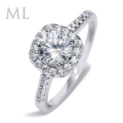 Womens 2.0 CT Halo Promise Engagement RING Bridal Fashion Silver Plated SIZE 6-9