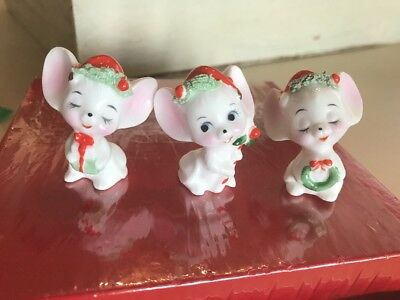 Lot of 3 Vintage Christmas Bone China Mice Mouse Figurine  1.75""
