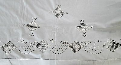 Antique Large Top Sheet D M Monogram Ornate Eyelet Embroidery Unusual & Lovely