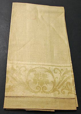 Antique Gold Linen Damask Towel Scrollwork Hemstitched Never Used W Millmarks