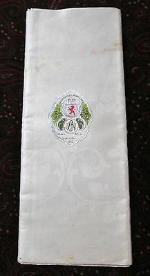 Antique Irish Linen Damask Tablecloth Never Used w/ Label ROSES Unhemmed