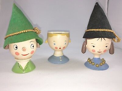 Lot 3 Vintage Wood Carved Hand Painted Egg Cups Family w/Egg Socks