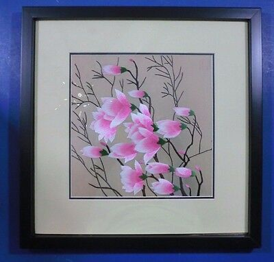 Hand Made Japanese Silk Embroidery Art in Frame Cherry Blossoms 13 Inches Japan
