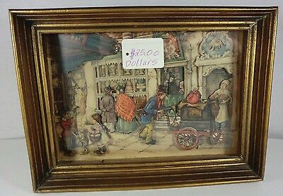 1968 Anton Pieck Dutch Bakery Street Scene 3-D Paper Print in Shadow Box