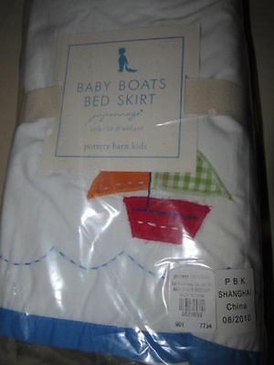 Pottery Barn Kids Baby Boats Crib Skirt Brand New Adorable