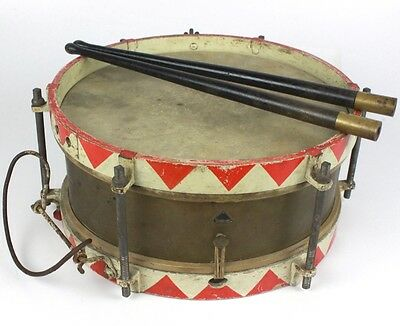 WWI - WWII German Army or Youth SONOR Brass Marching Snare Drum w/ Sticks