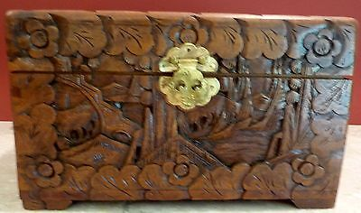 Vintage CHINESE CARVED CAMPHOR WOOD BOX CHEST
