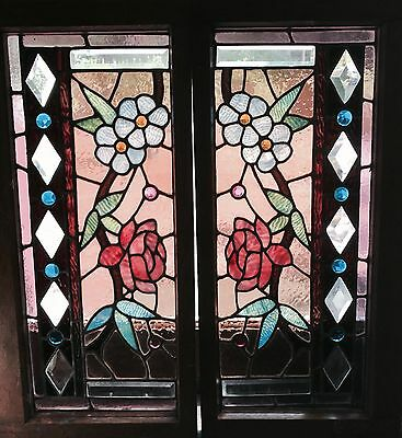 Great pair Chicago stained and beveled windows