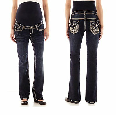 Tala Maternity Overbelly Embroidered Flap Pocket Bootcut Maternity Jeans NWT