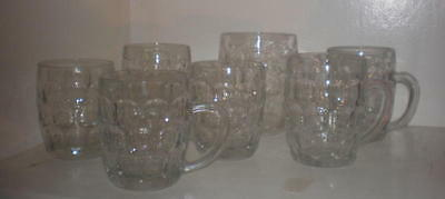 7 vintage Ravenhead Glass Half Pint / Pint Mugs..dimpled glasses made in England