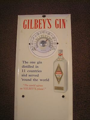 Gilbey's Gin Metal Over Cardboard Advertising Thermometer, Good Condition