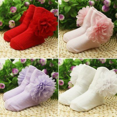 Newborn Baby Girl Soft Warm Ankle Socks Toddler Infant Flower Booties Shoes