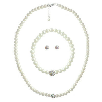 Argent 925 Perle Blanche & Cristal Fireball Collier, Bracelet & Earrings Set